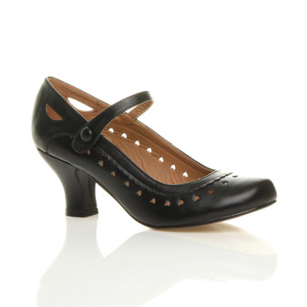 Front right side view of Black PU Mid Heel Mary Jane Heart Cut Out Court Shoes