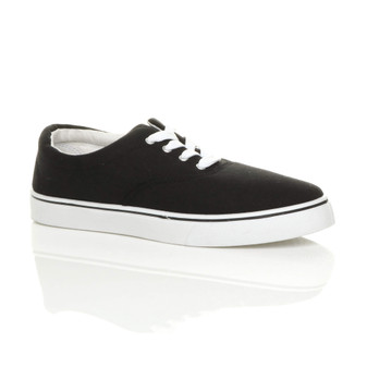 Front right side view of Black Flat Lace Up Canvas Plimsolls Trainers