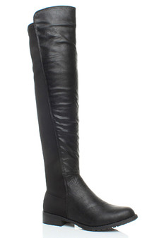 Front right side view of Black PU Low Heel Stretch Elastic Over The Knee Riding Boots
