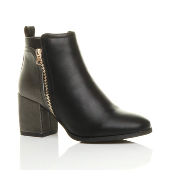 Front right side view of Black PU High Block Heel Metallic Contrast Ankle Boots