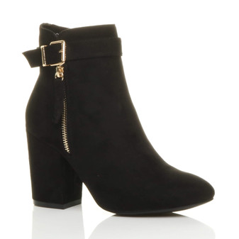Front right side view of Black Suede High Block Heel Gold Zip Ankle Boots