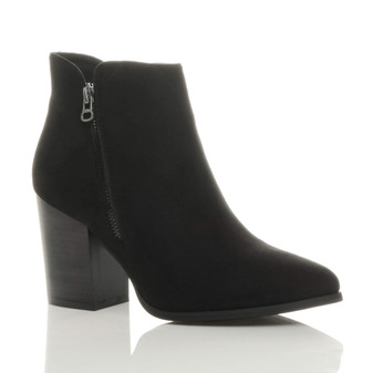 Front right side view of Black Suede High Block Heel Gunmetal Zip Pointed Ankle Boots