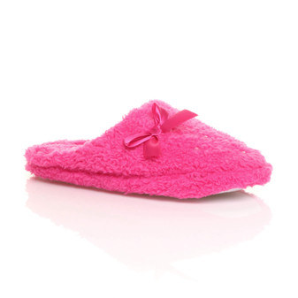 Front right side view of Fuchsia Diamante Flat Fleece Fluffy Mules Slippers