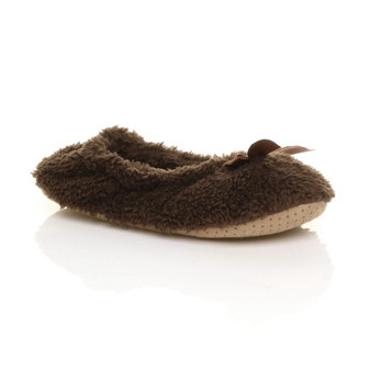 Front right side view of Brown Fleece Fluffy Footlets Slippers Socks