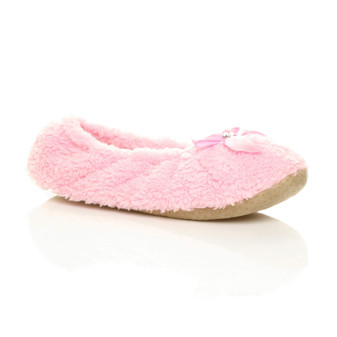 Front right side view of Baby Pink Fleece Fluffy Footlets Slippers Socks