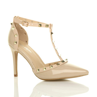 Front right side view of Beige Patent High Heel Studded T-Bar Pointed Court Shoes