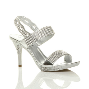 Front right side view of Silver Suede High Heel Slingback Diamante Sandals