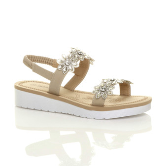 Front right side view of Beige PU Low Wedge Heel Diamante Flower Slingback Flatform Sandals