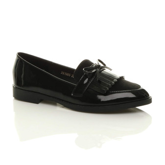Front right side view of Black Patent Flat Low Heel Fringed Loafers Casual Smart Shoes