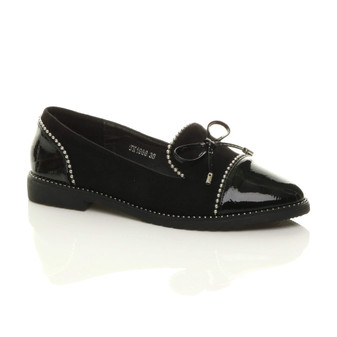 Front right side view of Black Suede Flat Low Heel Bow Beaded Studded Loafers Shoes