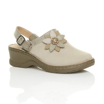 Front right side view of Beige PU Mid Block Heel Comfort Slingback Clogs Mules Sandals