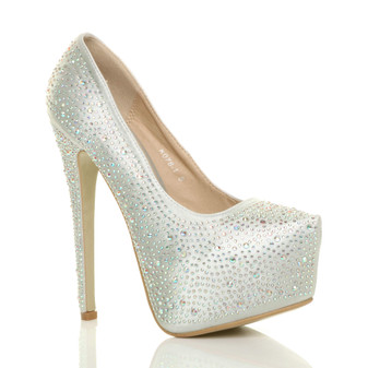 Front right side view of Silver Diamante Satin High Heel Diamante Pointed Platform Court Shoes