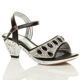 Front right side view of Black PU Mid Heel Diamante Gem Sandals