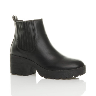 Front right side view of Black PU Mid Block Heel Chelsea Platform Ankle Boots