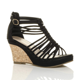 Front right side view of Black PU High Heel Wedge Gladiator Strappy Sandals