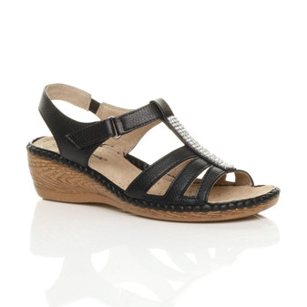 Front right side view of Black PU Mid Wedge Heel Diamante Slingback Comfort Sandals