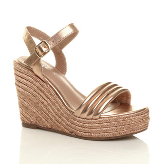 Front right side view of Rose Gold PU High Wedge Heel Espadrille Platform Sandals