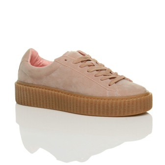 Front right side view of Baby Pink Suede Platform Flatform Creepers Trainers