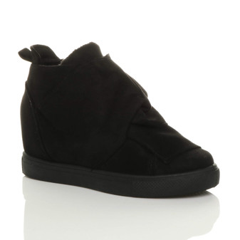 Front right side view of Black Suede Mid Heel Concealed Wedge Knot Ankle Boot Hi-Top Trainers