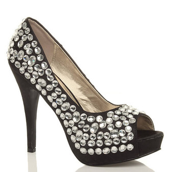 Front right side view of Black / White Satin High Heel Diamante Gem Peep Toe Court Shoes