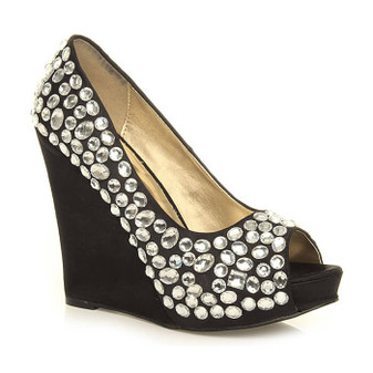 Front right side view of Black / White Satin High Heel Wedge Diamante Gem Peep Toe Shoes