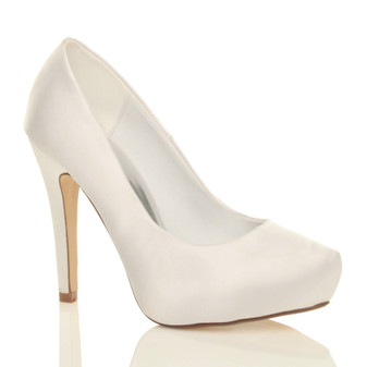 Front right side view of White Satin High Heel Concealed Platform Bridal Court Shoes
