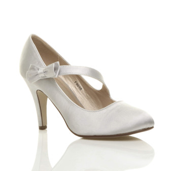 Front right side view of Silver Satin High Heel Mary Jane Strap Bow Court Shoes