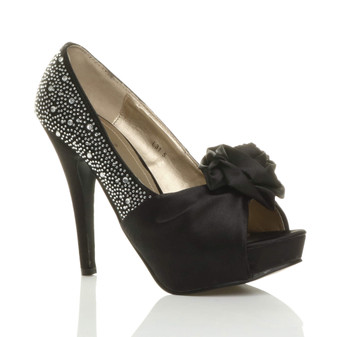 Front right side view of Black Satin High Heel Flower Diamante Peep Toe Platform Shoes
