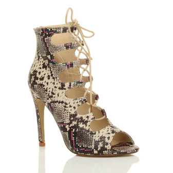 Front right side view of Beige Snake PU High Heel Lace Up Ghillie Ankle Boots Sandals