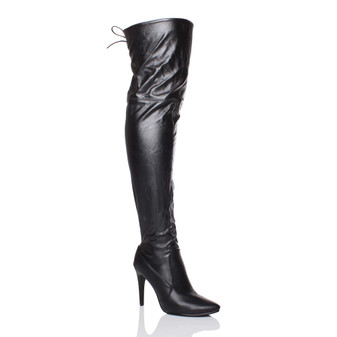Front right side view of Black PU High Heel Stretch Lace Up Back Pointed Over The Knee Boots