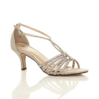 Front right side view of Beige Mid Heel Diamante T-Bar Strappy Sandals