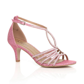 Front right side view of Pink Mid Heel Diamante T-Bar Strappy Sandals
