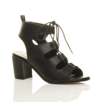 Front right side view of Black PU Mid Heel Ghillie Peep Toe Ankle Boots Sandals