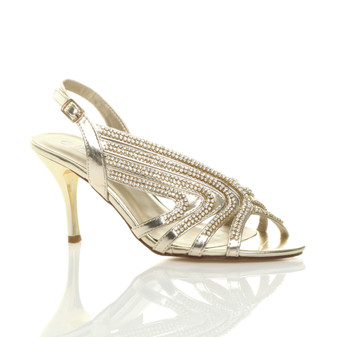 Front right side view of Gold PU High Heel Diamante Slingback Strappy Sandals