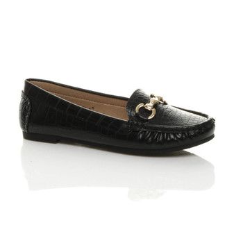 Front right side view of Black Croc PU Flat Low Heel Buckle Casual Work Moccasins Loafers Shoes