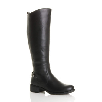 Front right side view of Black PU Mid Heel Stretch Riding Calf Boots
