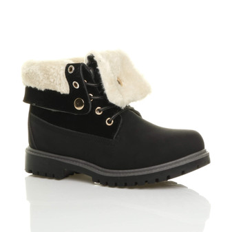 Front right side view of Black PU Low Heel Fur Lined Biker Worker Boots