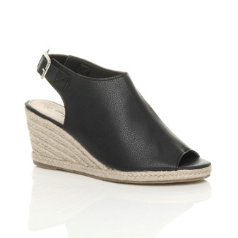 Front right side view of Black PU Mid Wedge Heel Slingback Peep Toe Booties Espadrille Sandals