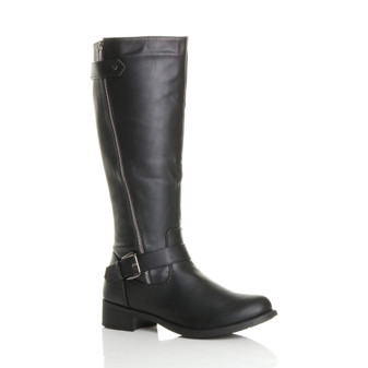 Front right side view of Black PU Low Heel Zip Biker Calf Boots