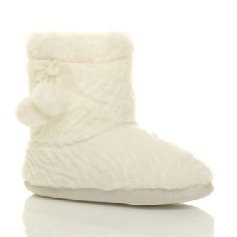 Front right side view of Cream Fur Faux Fur Lined Pom Pom Pull On Winter Fluffy Ankle Boots Slipper Booties
