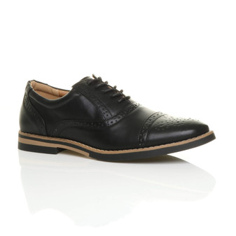 Front right side view of Black PU Contrast Oxford Shoes Brogues