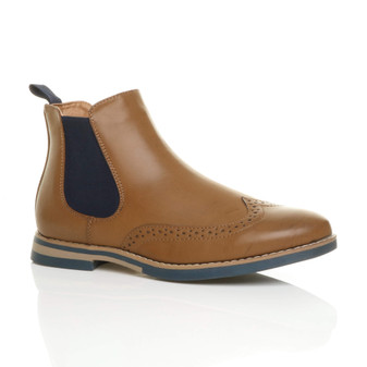 Front right side view of Tan PU Contrast Brogue Chelsea Ankle Boots