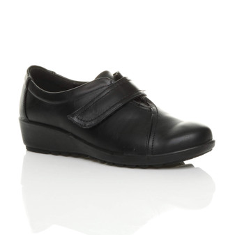 Front right side view of Black PU Low Mid Wedge Heel Comfort Shoes
