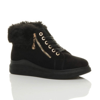 Front right side view of Black Suede Mid Heel Wedge Fur Cuff Low Top Trainers