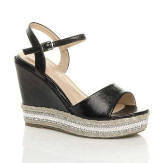 Front right side view of Black High Wedge Heel Diamante Espadrille Platform Sandals