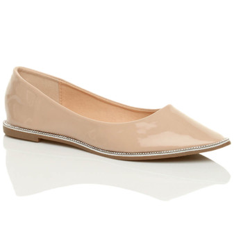 Front right side view of Beige Patent Flat Diamante Pointed Toe Ballerina Dolly Shoes