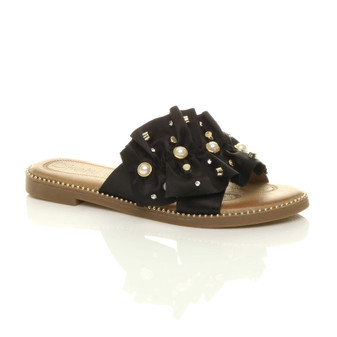 Front right side view of Black Flat Pearl Diamante Ruffle Sandals Flip Flops
