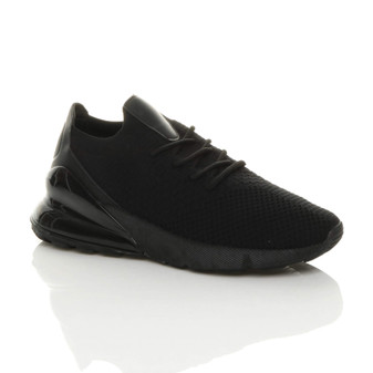 Front right side view of Black Flyknit Lace Up Flexible Chunky Trainers