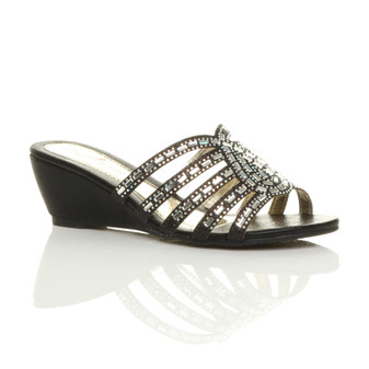 Front right side view of Black Mid Heel Wedge Strappy Diamante Sandals