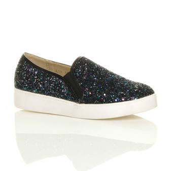 Front right side view of Black Multi Glitter Flat Slip On Glitter Plimsolls Trainers